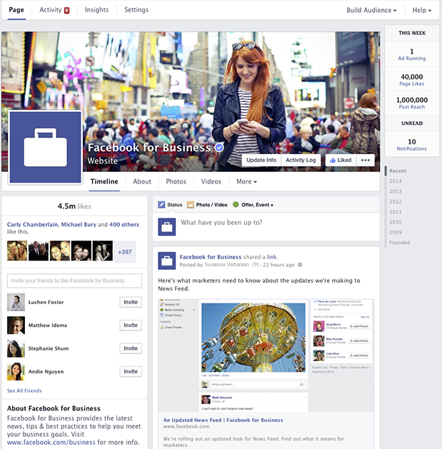 This is the new Facebook Fanpage Timeline as of March 2014 after the new Redesign
