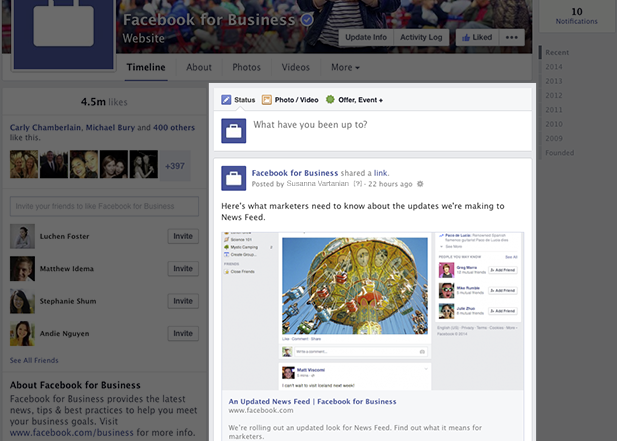 Facebook Page Timeline Posts appear in a single column to the right now